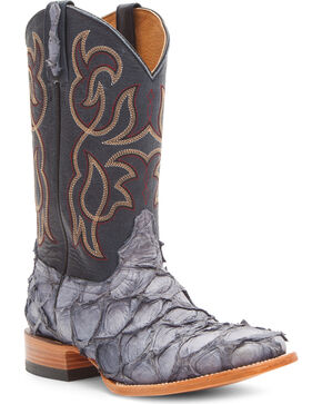 Cody James Men's Denim Pirarucu Exotic Boots - Square Toe, Blue, hi-res