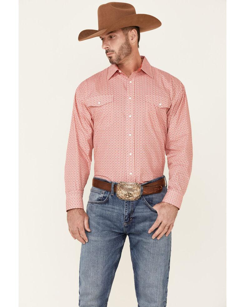 Panhandle Select Men's Red Geo Print Long Sleeve Snap Western Shirt , Red, hi-res