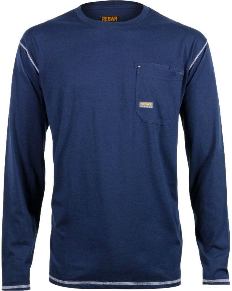 Ariat Men's Rebar Crew Long Sleeve Shirt, Navy, hi-res