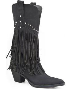 Roper Women's Fringe Western Boots, Black, hi-res