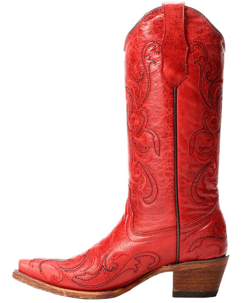 Circle G by Corral Women's Embroidery Snip Toe Western Boots, Red, hi-res