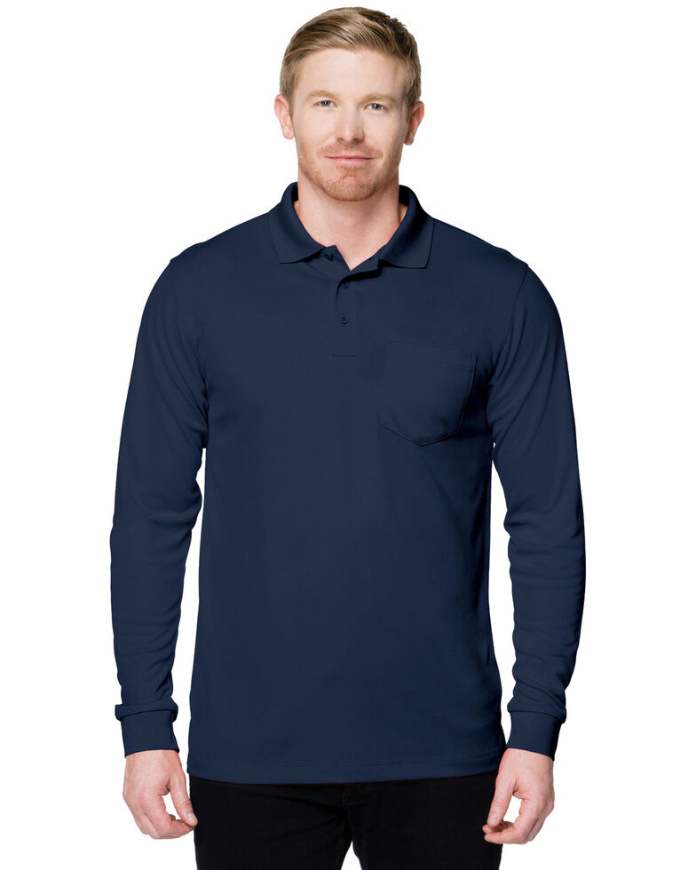 Tri-Mountain Men's Navy Large Vital Pocket Long Sleeve Polo Shirt - Tall, Navy, hi-res