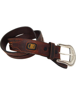 Dan Post Men's Leather Western Stitch Belt, Brown, hi-res