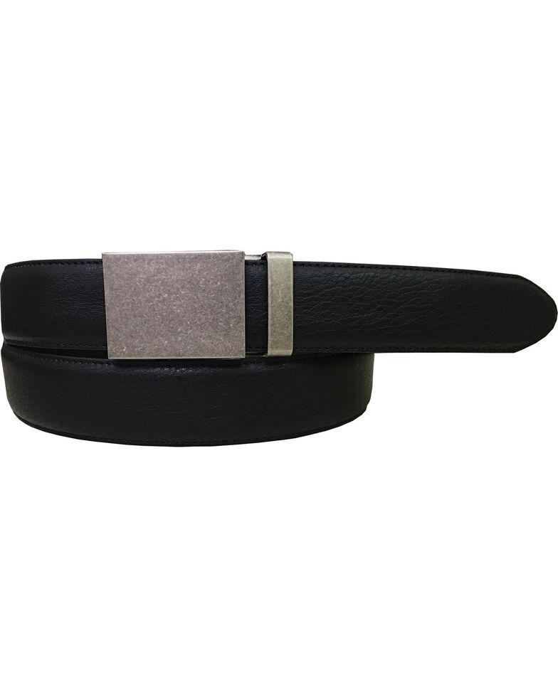 Danbury Men's Plaque Buckle Genuine Leather Belt, Black, hi-res