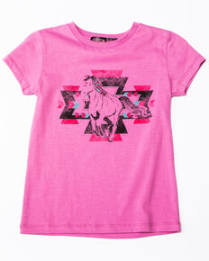 d8396f73 Rock & Roll Cowgirl Girls Aztec Running Horse Graphic T-Shirt , Pink, hi