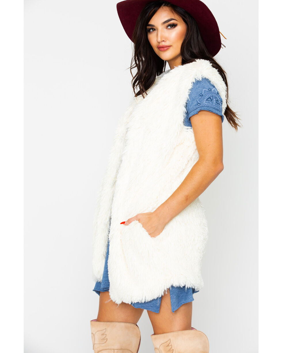Nostalgia Women's Plush Fur Vest , Cream, hi-res