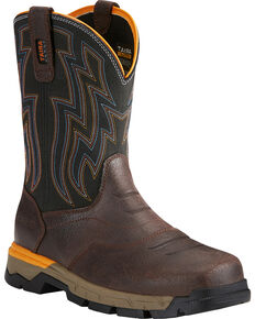 Ariat Men's Rebar Flex Brown Western Work Boots - Soft Toe, Chocolate, hi-res