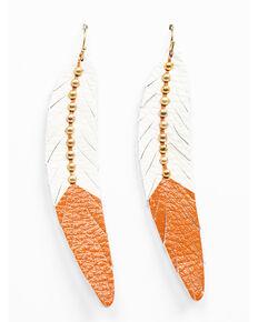 Shyanne Women's Wanderlust Leather Feather Tonal Earrings, Tan/copper, hi-res