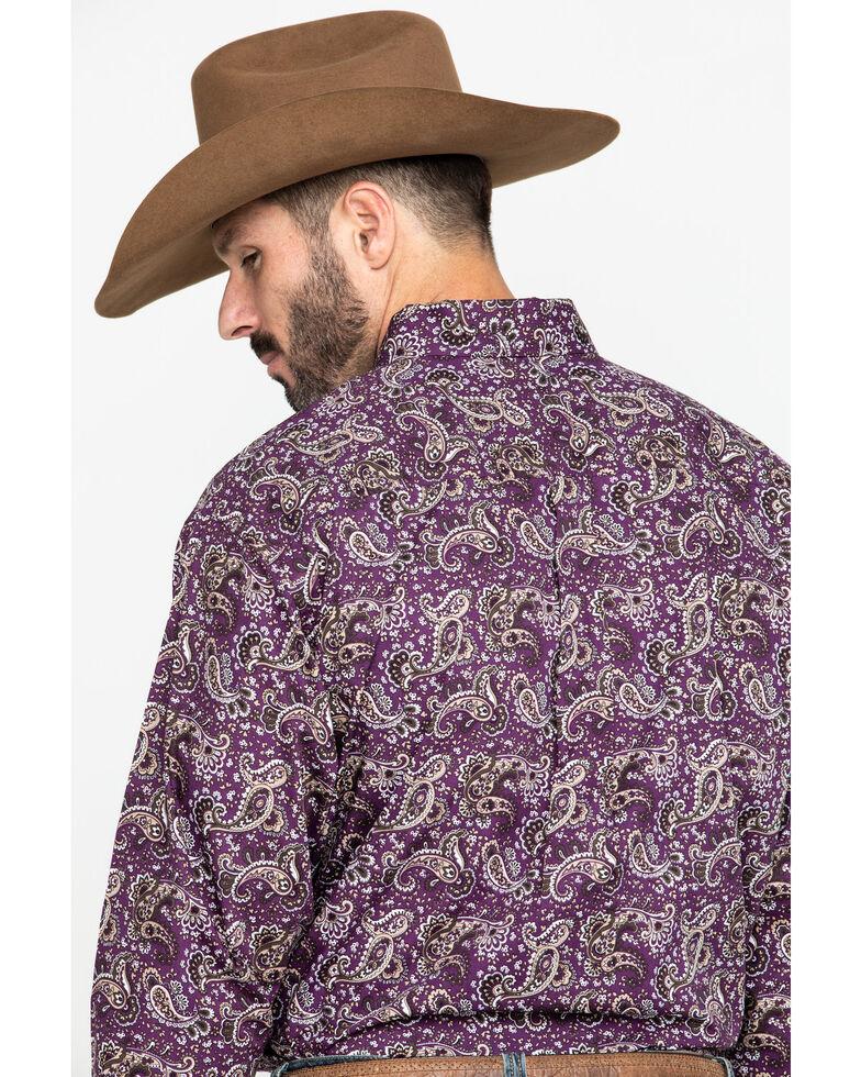 Cinch Men's Purple Paisley Print Long Sleeve Western Shirt , Purple, hi-res