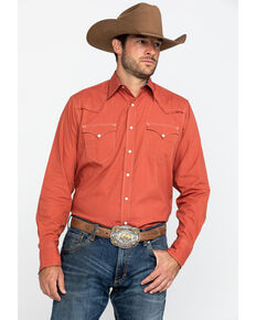 Roper Men's West Made Orange Solid Long Sleeve Western Shirt , Orange, hi-res