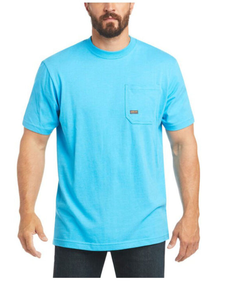 Ariat Men's Heather Turquoise Rebar Cotton Strong American Raptor Graphic Work T-Shirt, Turquoise, hi-res