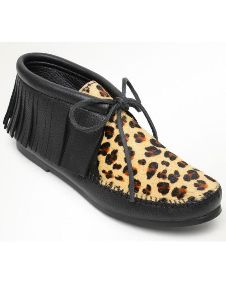 Minnetonka Women's Classic Fringe Leopard Deerskin Booties - Moc Toe, Leopard, hi-res