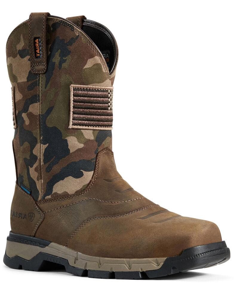 Ariat Men's Rebar Patriot Waterproof Western Work Boots - Square Toe, Brown, hi-res