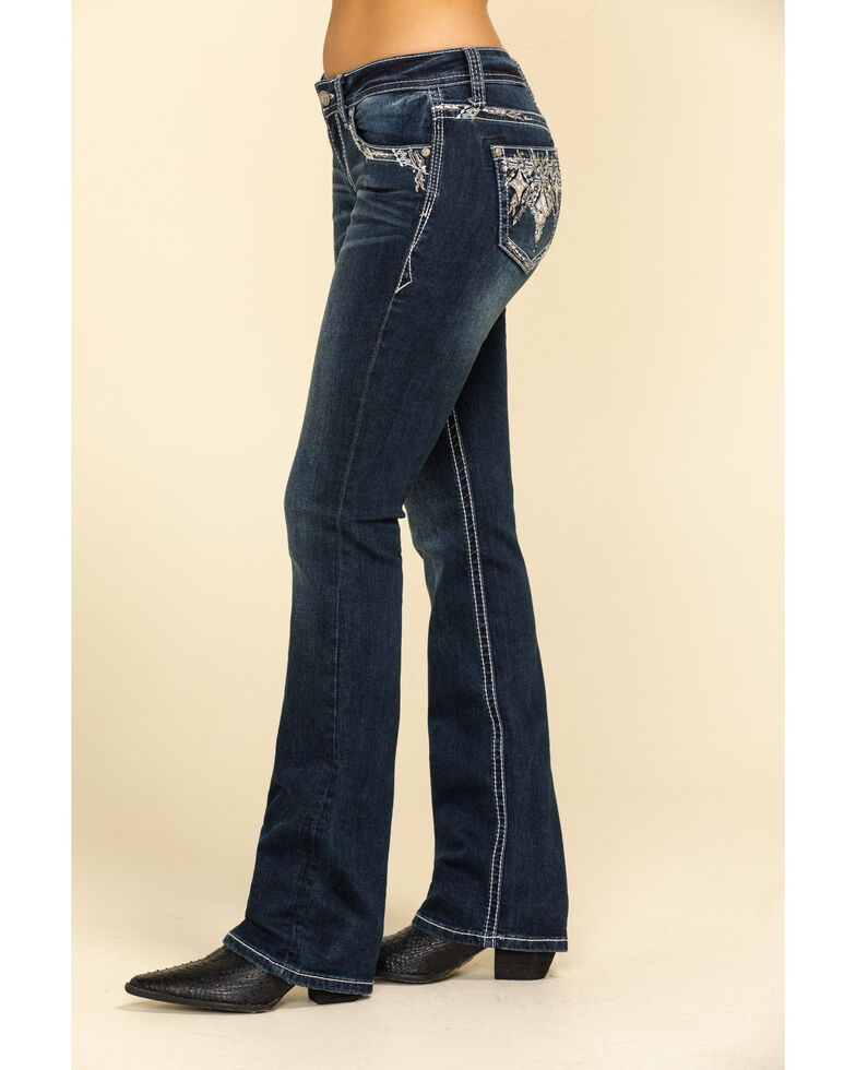 """Grace in LA Women's Dark Wash Embroidered 34"""" Bootcut Jeans , Blue, hi-res"""