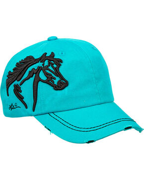 Western Express Women's Turquoise Vintage Horsehead Cap , Turquoise, hi-res