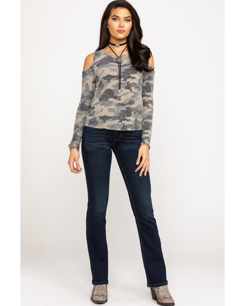 Red Label by Panhandle Women's Camo Cold Shoulder Long Sleeve Pullover, Camouflage, hi-res