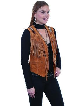 Leatherwear by Scully Women's Boar Suede Beaded Fringe Vest, Tan, hi-res