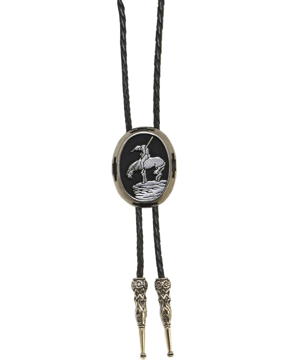 Western Express Men's End Of The Trail Bolo Tie, Silver, hi-res