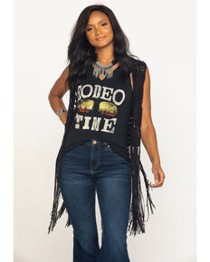 Rock & Roll Cowgirl Women's Black Crochet Long Fringe Vest, Black, hi-res