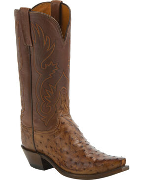 Lucchese Women's Handmade Dolly Full Quill Ostrich Western Boots - Snip Toe, Brown, hi-res