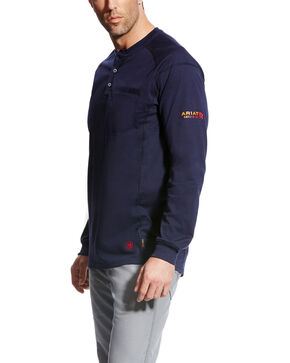 Ariat Men's FR Air Henley Long Sleeve Work Shirt , Navy, hi-res
