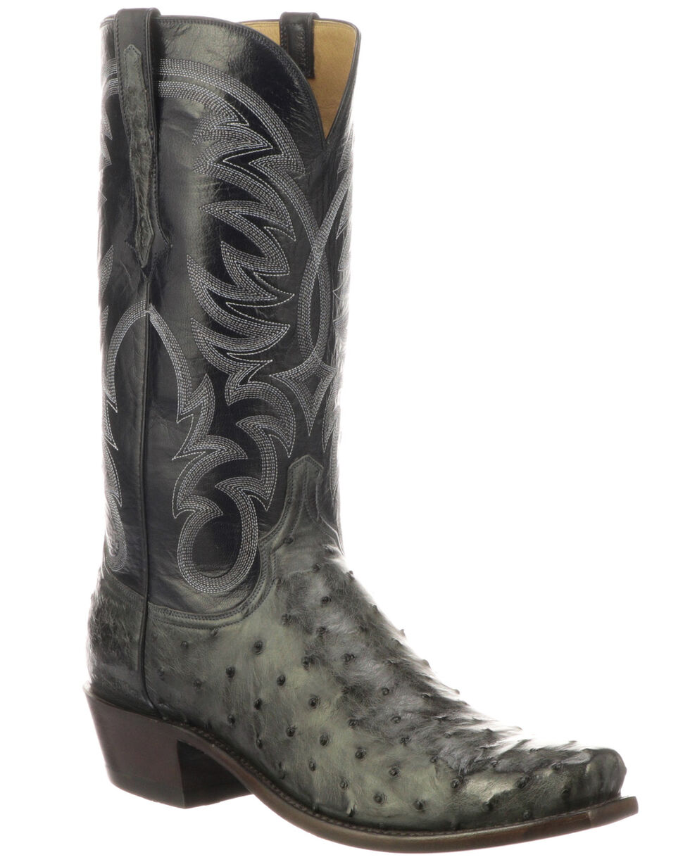Lucchese Men's Hugo Full-Quill Ostrich Western Boots - Round Toe, Grey, hi-res