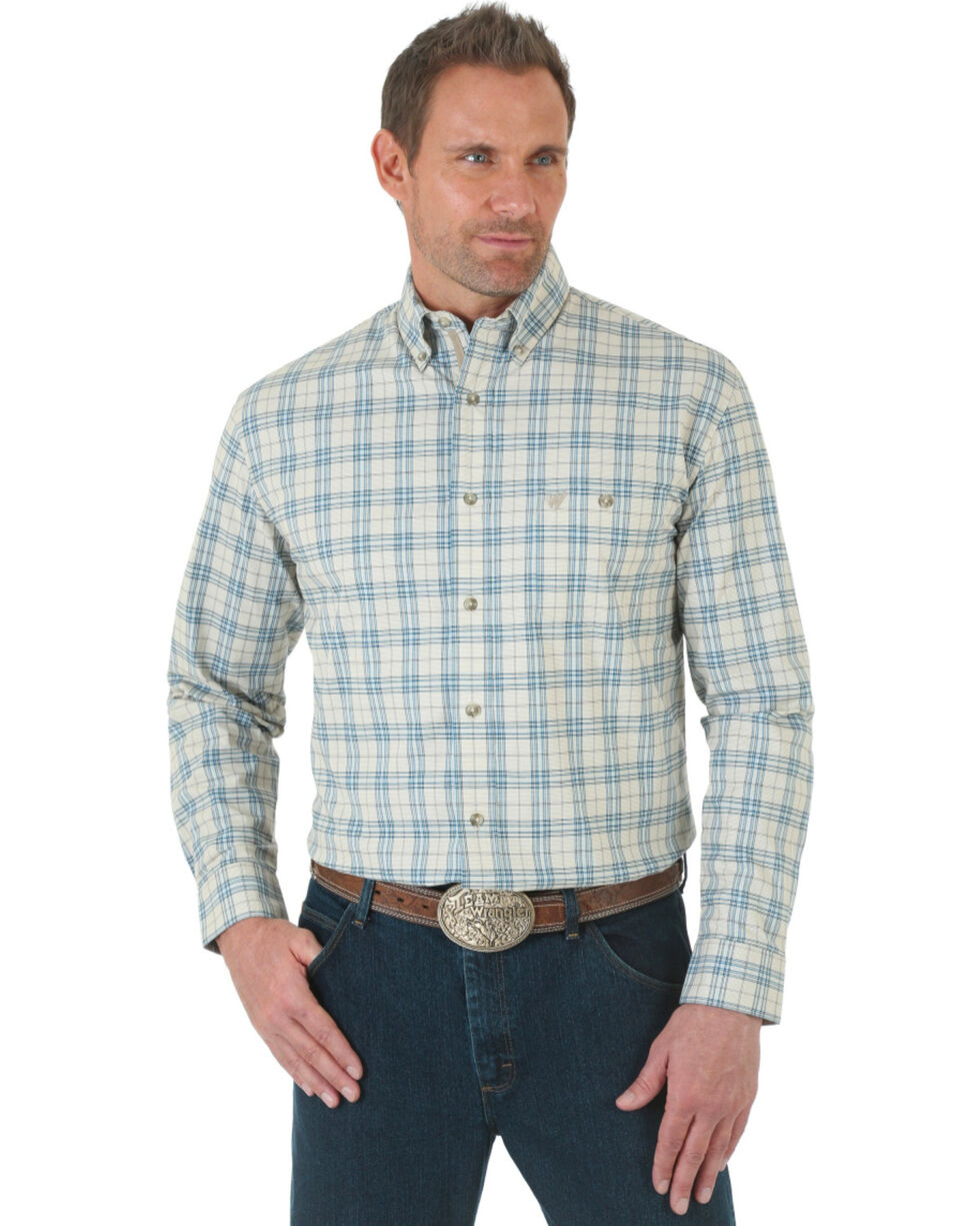 Wrangler Men's Advanced Comfort Stretch Coral and Blue Poplin Shirt , Plaid, hi-res