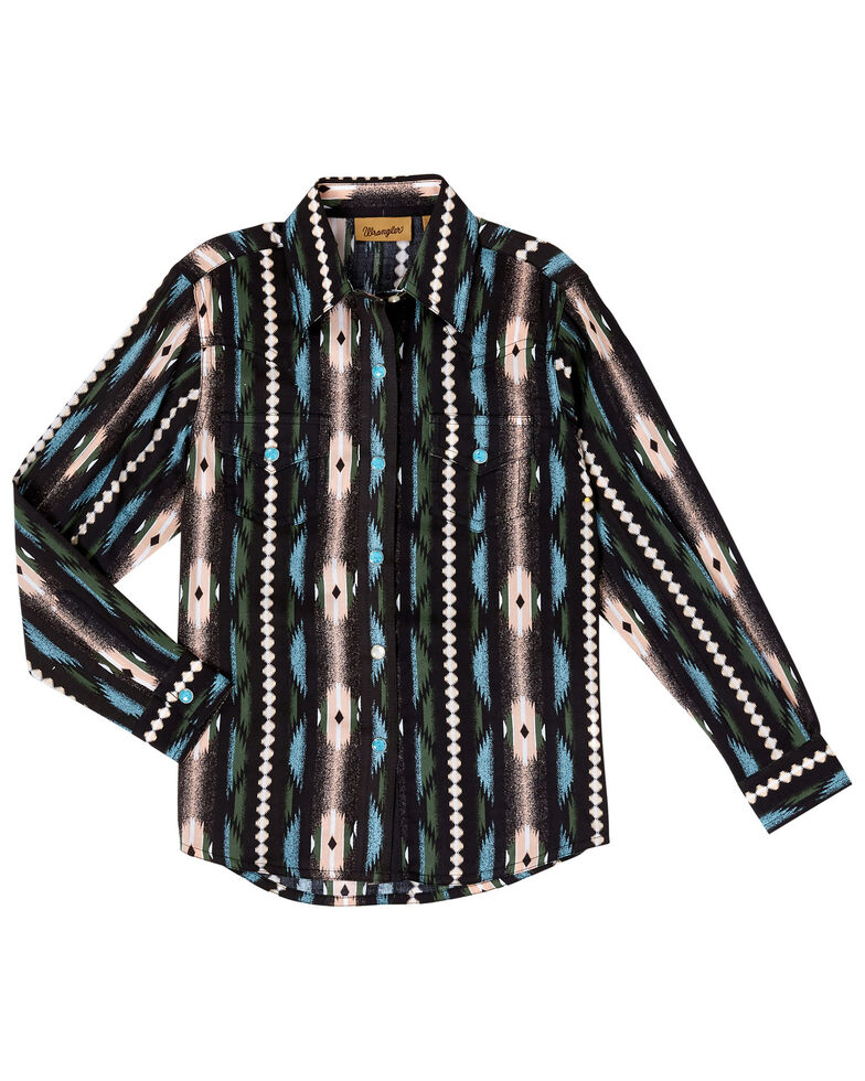Wrangler Girls' Black Raven Aztec Long Sleeve Western Shirt , Black, hi-res