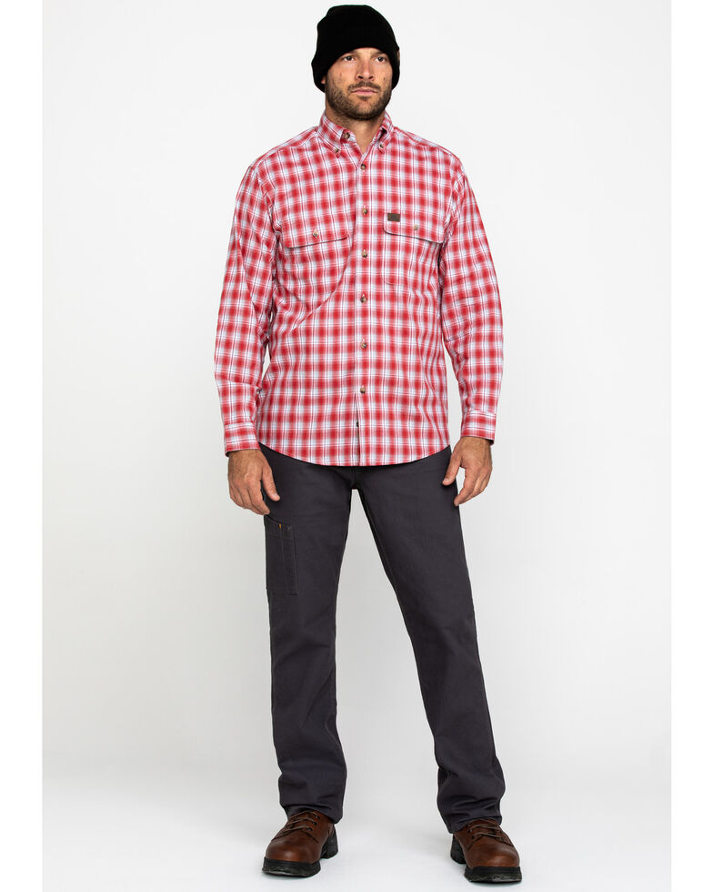 Wrangler Riggs Men's Red Plaid Long Sleeve Work Shirt - Tall , Red, hi-res