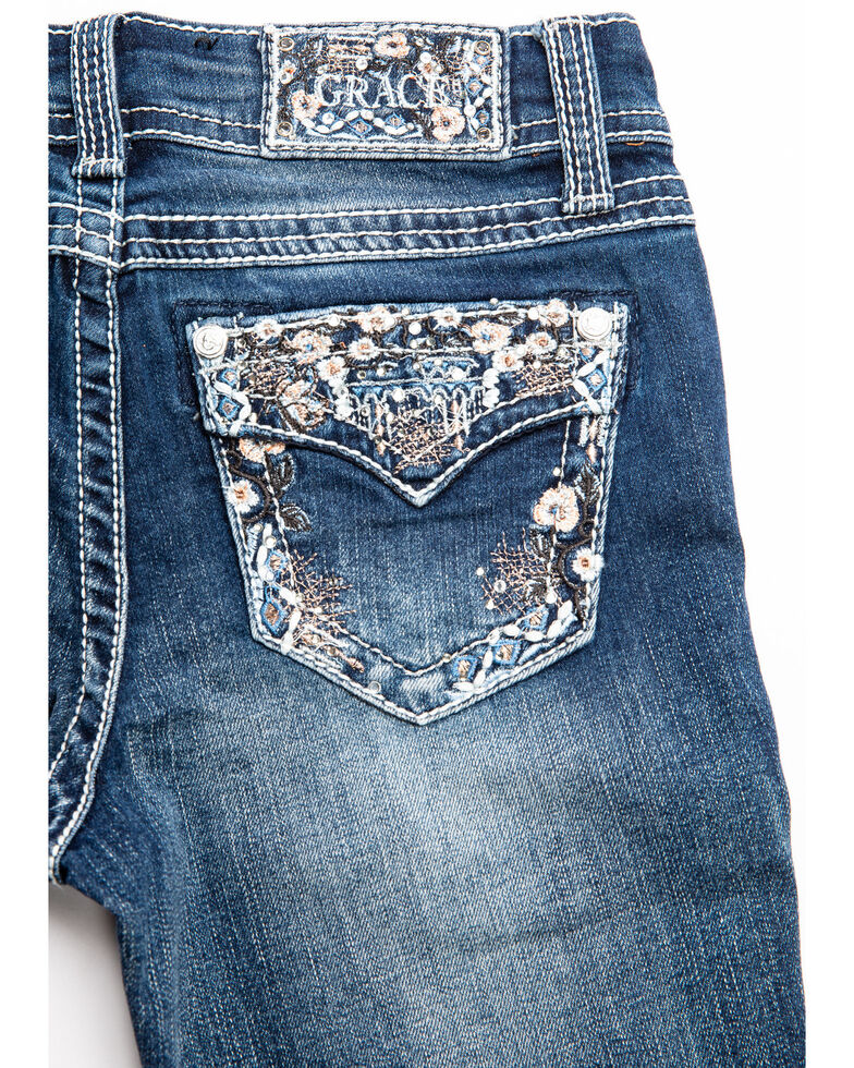 Grace in LA Girls' Ditzy Floral Embroidered Bootcut Jeans, Blue, hi-res