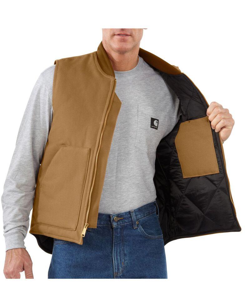Carhartt Men's Duck Arctic Quilt Lined Vest, Brown, hi-res