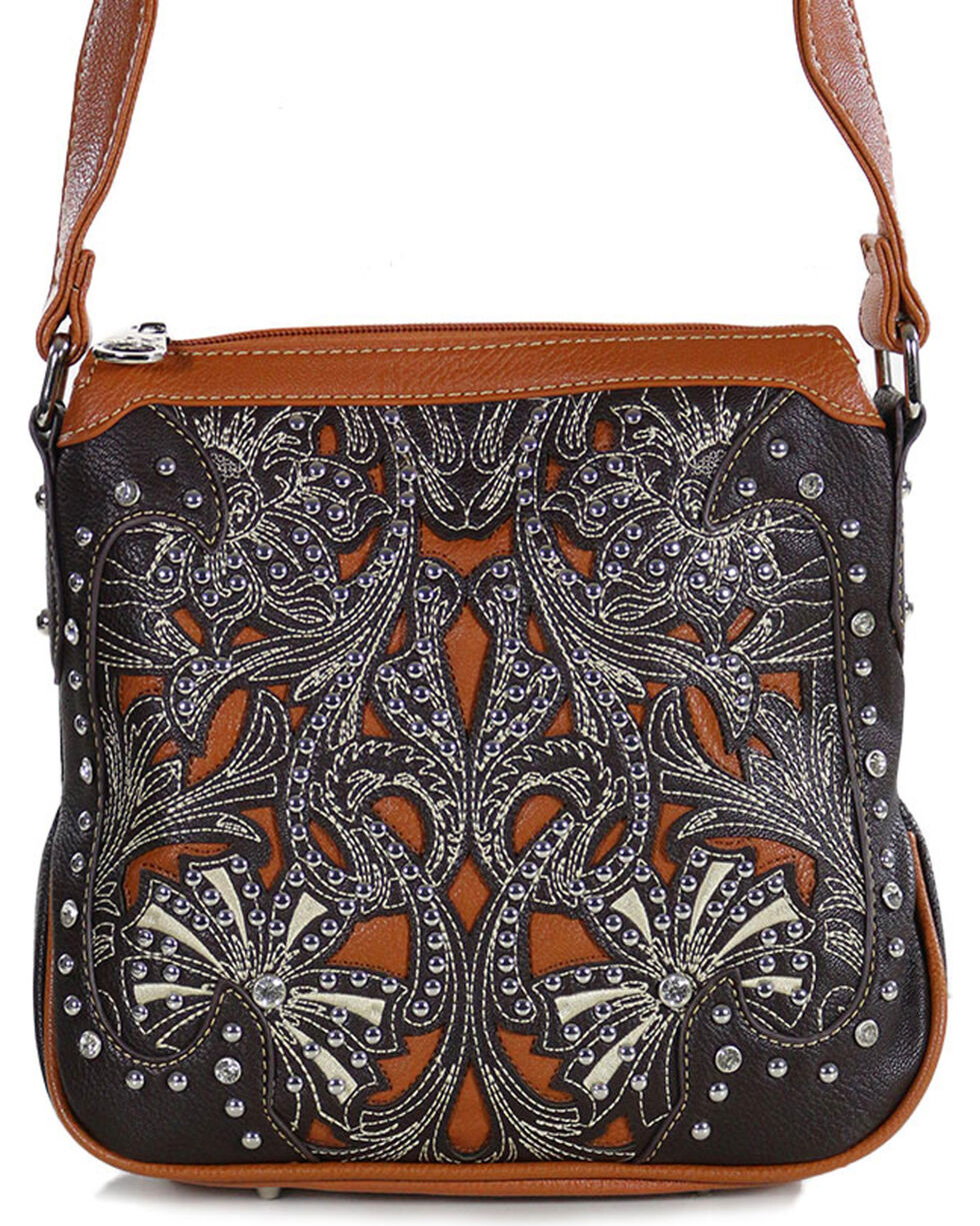 Montana West Brown Concealed Weapons Messenger Bag, Taupe, hi-res
