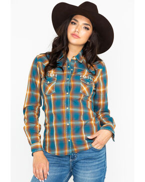 Panhandle Women's Plaid Embroidered Studded Long Sleeve Western Shirt  , Turquoise, hi-res