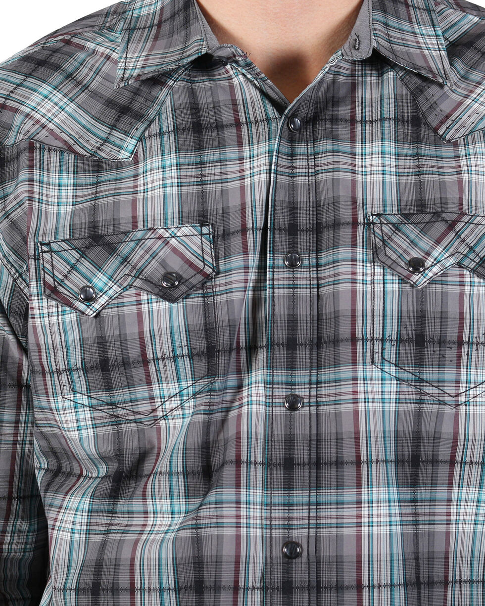 Moonshine Spirit Men's Wavelength Plaid Long Sleeve Shirt, Grey, hi-res