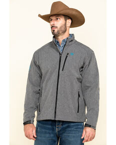 Ariat Men's Charcoal Logo 2.0 Softshell Zip-Up Jacket , Charcoal, hi-res
