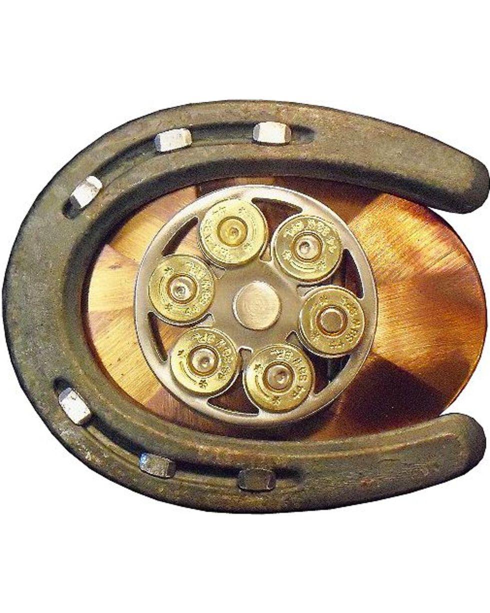 American Heritage Exotic Gun Cylinder & Horseshoe Belt Buckle, Multi, hi-res