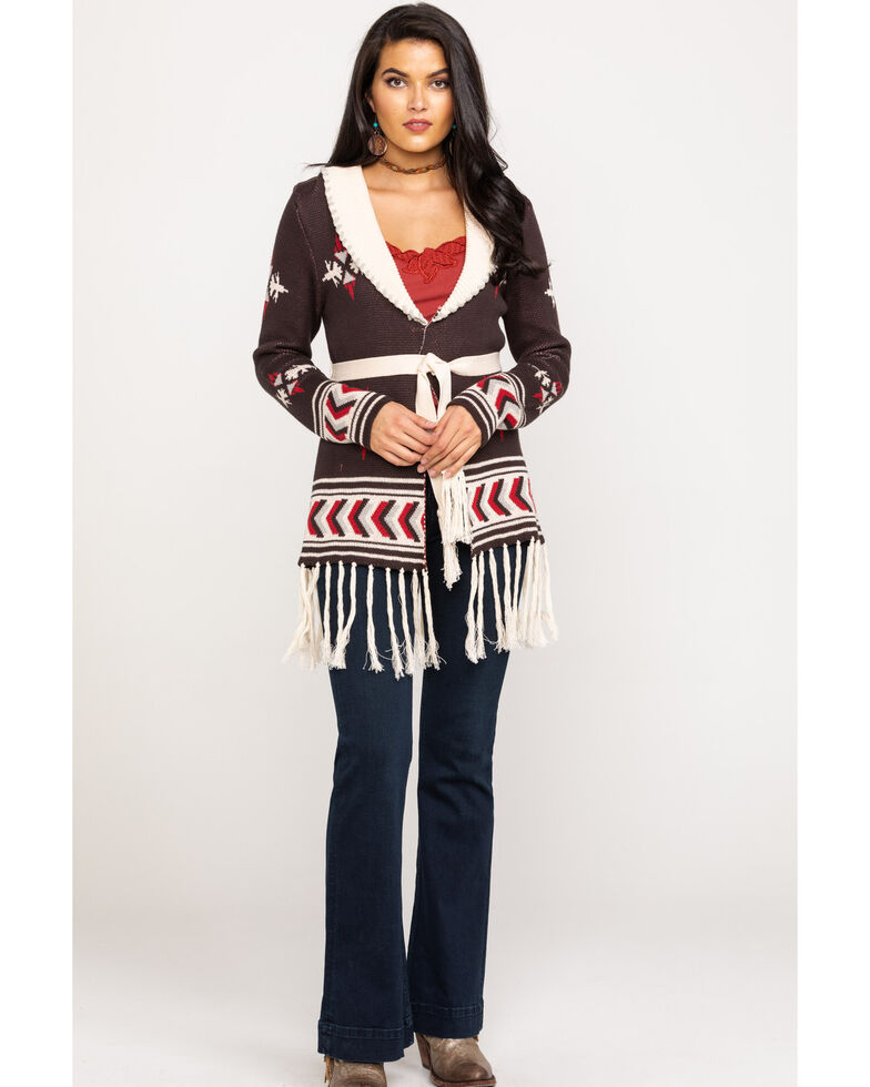Powder River Outfitters Women's Brown Aztec Print Belted Cardigan , Brown, hi-res