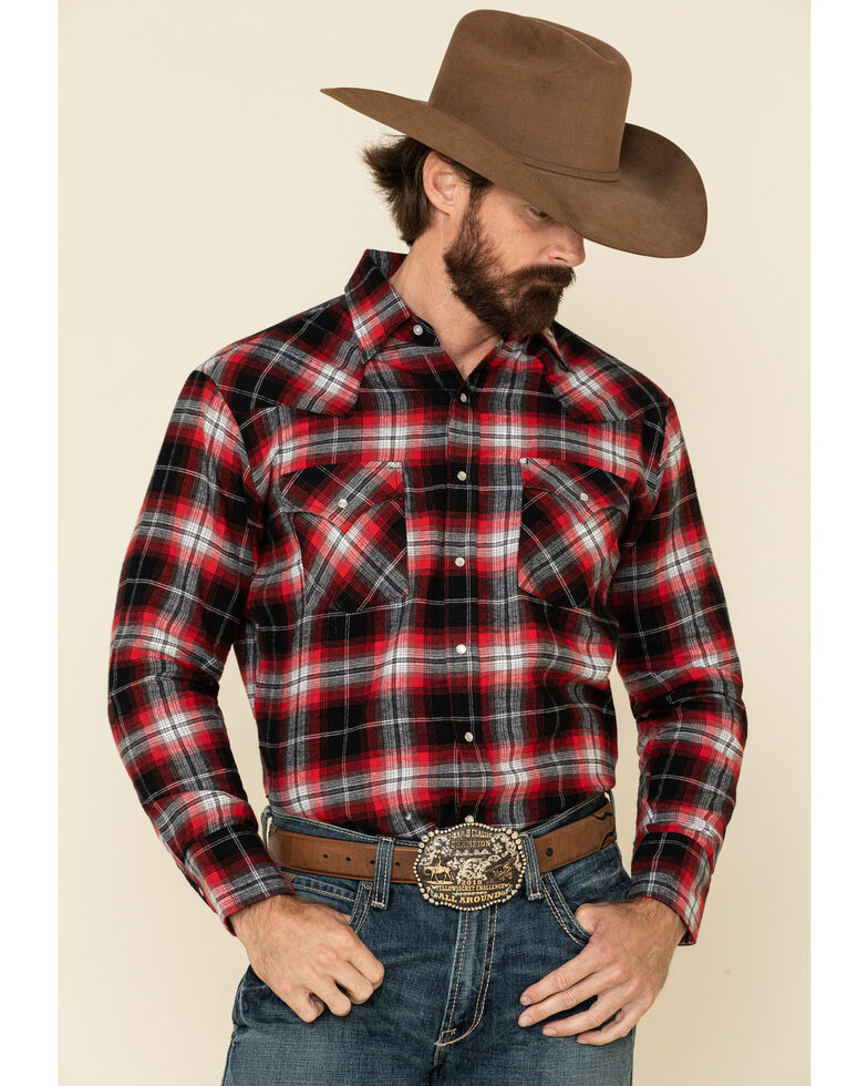 Ely Cattleman Men's Red Plaid Long Sleeve Western Flannel Shirt , Red, hi-res