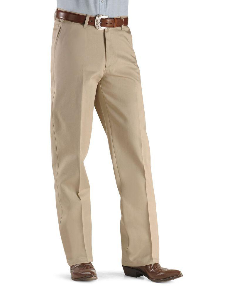 Wrangler Men's Riata Flat Front Relaxed Fit Pants, Khaki, hi-res