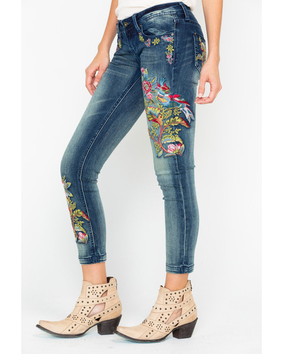 Grace In LA Women's Floral Embroidered Skinny Jeans  , Indigo, hi-res