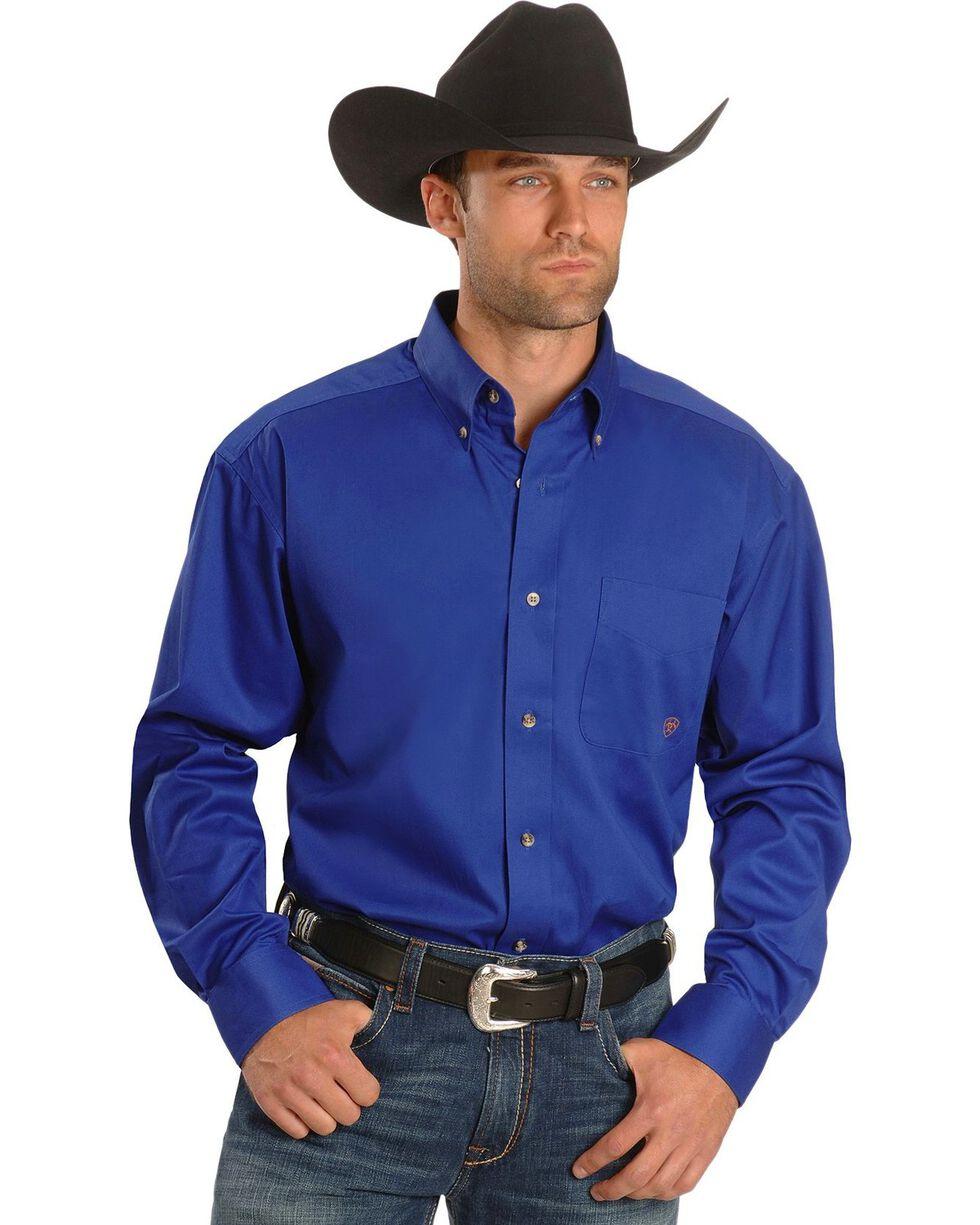 Ariat Men's Solid Long Sleeve Western Shirt, Blue, hi-res
