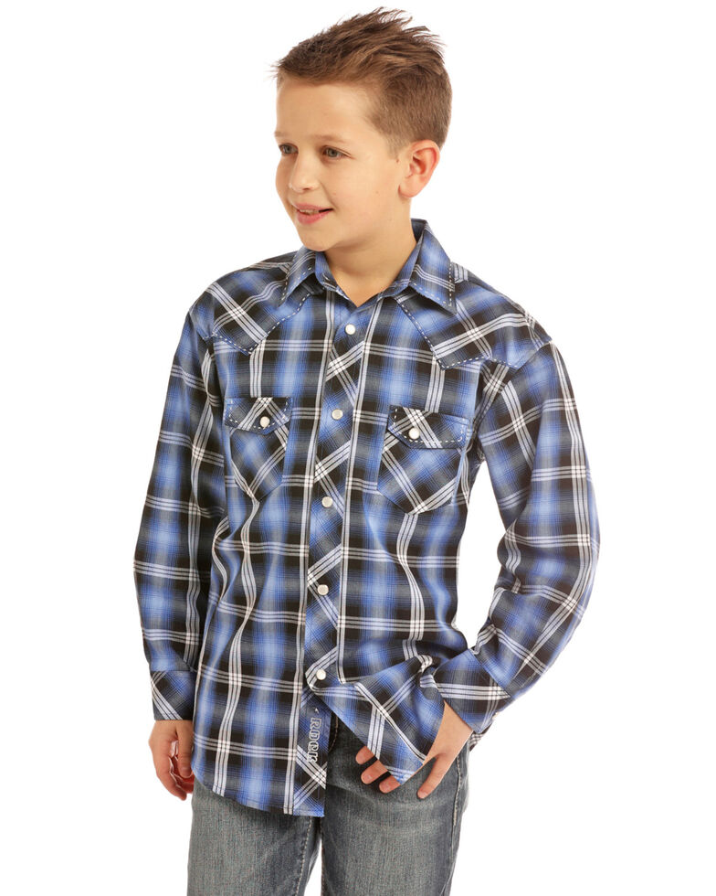 Rock & Roll Denim Boys' Blue Plaid Snap Long Sleeve Western Shirt , Blue, hi-res