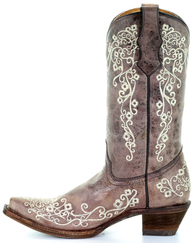 Corral Girls' Scroll Embroidery Western Boots, Brown, hi-res