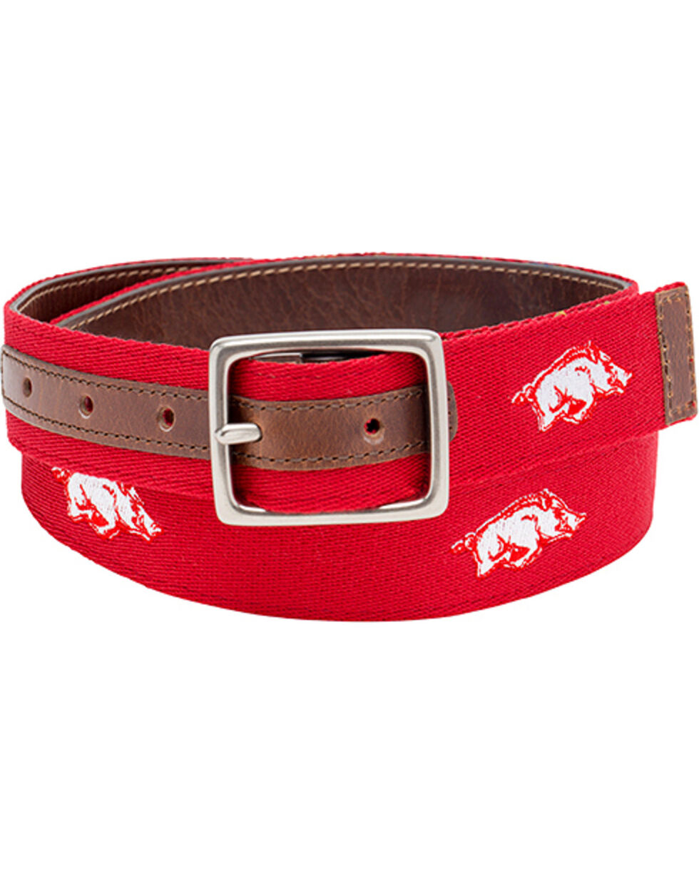 Jack Mason Men's University of Arkansas Alumni Reversible Belt  , Red, hi-res