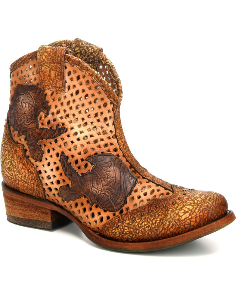 Corral Women's Galapagos Laser Cutout  Booties - Round Toe, Honey, hi-res