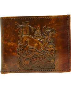 Western Express Men's Brown Leather Deer Billfold , Brown, hi-res