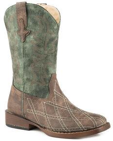 Roper Boys' Cross Cut Cowboy Boots - Square Toe, Brown, hi-res