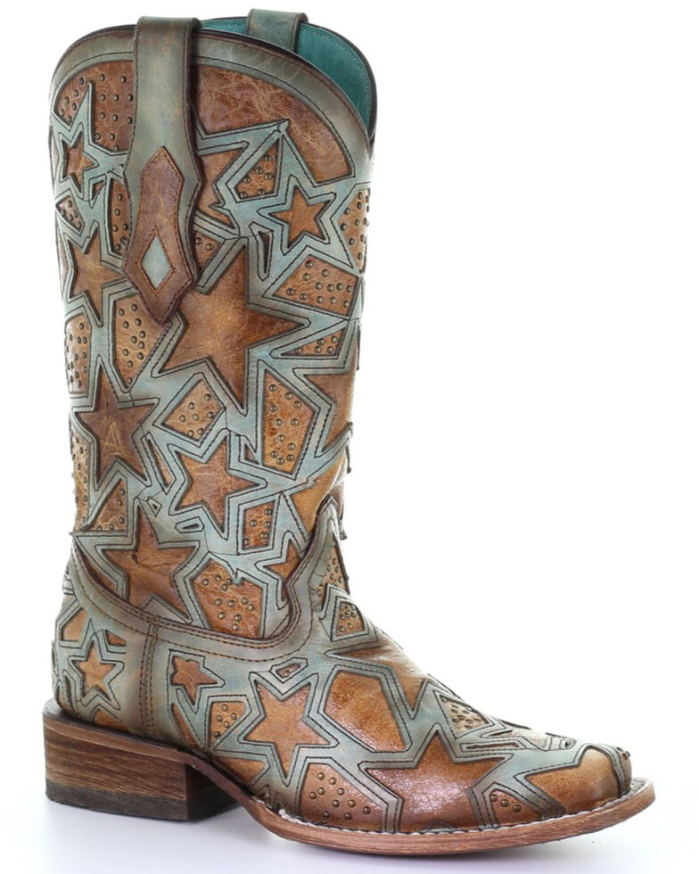 Corral Women's Brown Star Inlay Studded Leather Western Boots - Square Toe , Brown, hi-res