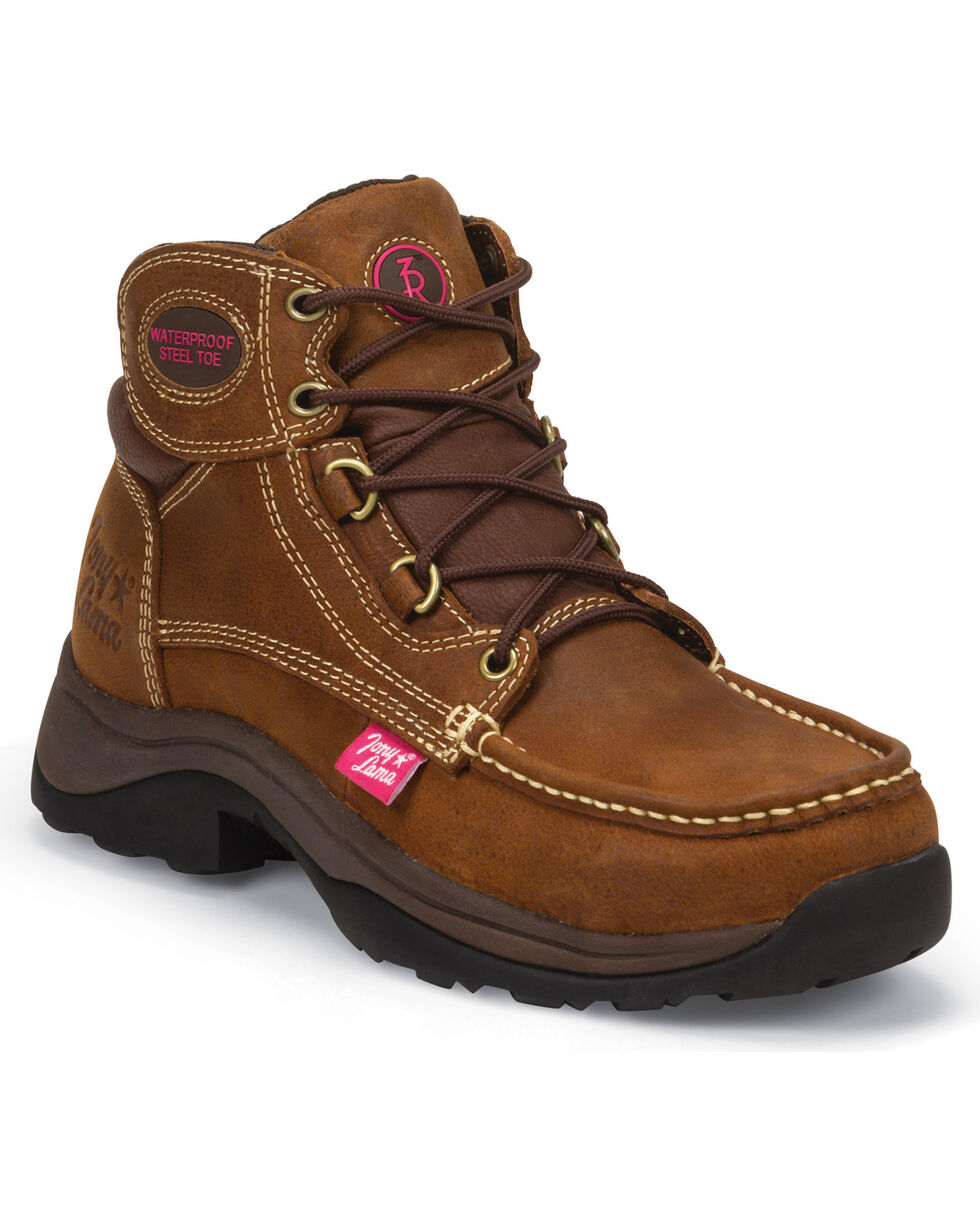 Tony Lama Women's Saddle Tan Tonk 3R Casual Waterproof Steel Toe Work Boots, Brown, hi-res