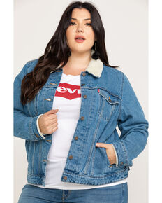Levi's Women's Doin' Fine Sherpa Trucker Jacket - Plus, Blue, hi-res